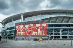 A close up view of the Arsenal stadium. Arsenal Emirates Stadium, London, United Kingdom - September 21, 2016 : A close up view of the Arsenal stadium, Venue of stock images