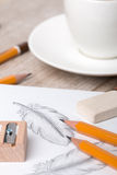 Close-up view of artist`s or designer`s table Stock Photos