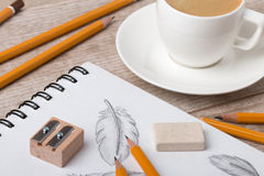 Close-up view of artist`s or designer`s table Royalty Free Stock Images