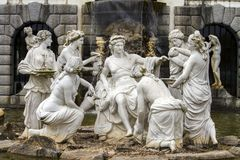 Artistic classical statues. Close up view of artistic and classical statues on a fountain depicting many women and a center man Royalty Free Stock Photos
