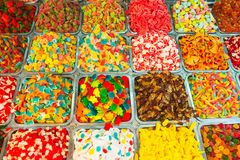 Close up view of assorted colorful different shape jelly candies on market place in Tel Aviv, Israel. Selective focus, space for t royalty free stock photos