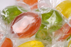 Close up view of assorted hard candy. In cellophane wrappers Stock Photography