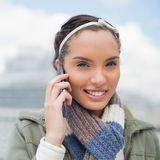 Close up view of attractive woman talking on phone Royalty Free Stock Images