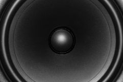 Close up view of audio speaker. A close up view of an audio monitor, which is a type of speaker that gives perfectly balanced sound, without extra bass or treble Stock Photo
