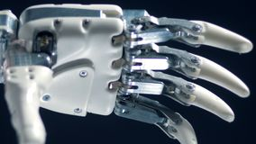 Close up view of automated working prosthesis. stock video