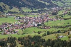 Close up view of Bad Hindelang. Seen from the Oberjoch Pass Stock Image
