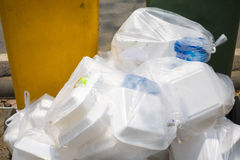 Close up  View of bagged rubbish on street Overflow of Litter Ga Stock Image