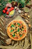 Mixed pizza with chicken, pepper, olives, onion, basil on pizza board royalty free stock photos