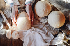 Close up view of baker kneading dough. Homemade bread. Hands pre Royalty Free Stock Image