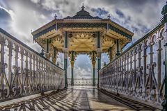 Close up view of Bandstand near the beach. stock images