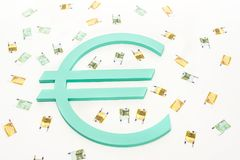 Close up view of banknotes and euro sign. Isolated on white royalty free illustration