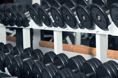 Close-up view of barbells organized in row Stock Photo
