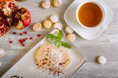 Close up view of beautiful elegant sweet dessert, shortbread, served on the plate. Beautiful decoration, restaurant dish. Ready to eat. Tea time, cozy stock images