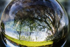 Close up view on beautiful landscape trees in blue sky and green meadow through lens ball sphere, france. Close up view on beautiful landscape trees in blue sky Stock Images