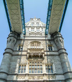 Close-up view of the beautiful Tower Bridge of London stock photography