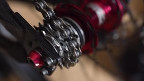 Close-up view of the bicycle hub. Rotating bmx or mtb wheel. In Odessa stock video