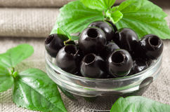 Close-up view of the black olives, pitted marinated Stock Image
