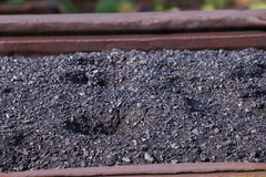 Close up view of black shiny coal in Railway wagon Royalty Free Stock Image