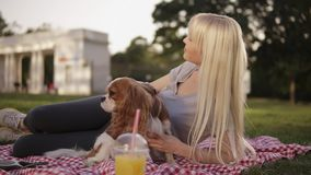 Close up view of a blonde long haired woman laying on a ground in the park on a plaid litter and caress her small dog. Blurred background, plastic cup with stock video