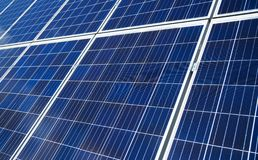 Blue solar panels. Close-up view of blue solar panels. Renewable energy Royalty Free Stock Image