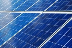 Blue solar panels. Close-up view of blue solar panels. Renewable energy Stock Photography
