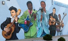 Close Up View of Blues Mural, West Memphis Arkansas. Blues Mural on the side of a building in West Memphis Arkansas, even though Arkansas is not directly known Stock Photography