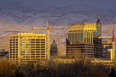 Close up view of Boise Idaho in the winter at sunset Royalty Free Stock Photos