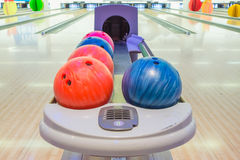 Close-up view of bowling balls. Royalty Free Stock Photography