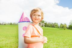 Close-up view of boy with carton rocket toy Stock Photos