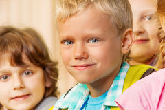 Close up view of boy and other kids together Royalty Free Stock Images