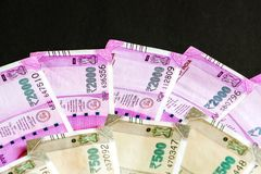 New indian 500, 2000 rupees banknotes. Close up view of brand new indian 500, 2000 rupees banknotes royalty free stock images