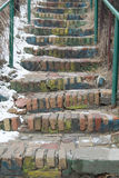 Close up view on brick staircase stock image