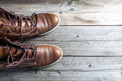 Close up view of brown leather man or woman new dry clean shoes, showing laces in detail. Royalty Free Stock Image