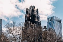 Close-up view of Bryant Park Hotel and modern skyscrapers in Midtown Manhattan New York City stock image