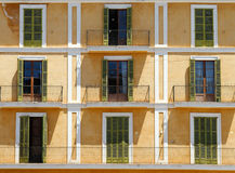 Close up view of building with balconies Royalty Free Stock Photo