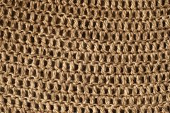 Close up view of burlap sack. Knitting pattern detailed and textured royalty free stock photography