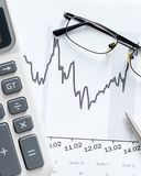 Close up view of business documents and glasses Stock Images