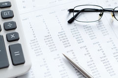 Close up view of business documents and spectacles Stock Images