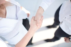 Close up view of business partnership handshake concept.Photo of two businessman handshaking process.Successful deal. Close up view of business partnership Royalty Free Stock Photo