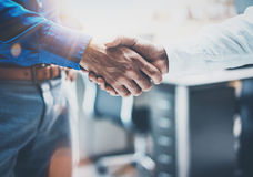 Close up view of business partnership handshake concept.Photo  two businessman handshaking process.Successful deal after Royalty Free Stock Image