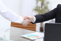Close up view of business partnership handshake concept.Photo of two businessman handshaking process.Successful deal. After great meeting Royalty Free Stock Photo