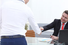 Close up view of business partnership handshake concept.Photo of two businessman handshaking process.Successful deal Stock Photos