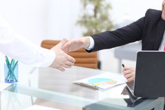 Close up view of business partnership handshake concept.Photo of two businessman handshaking process.Successful deal. After great meeting Royalty Free Stock Image