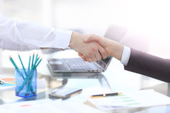 Close up view of business partnership handshake concept.Photo of two businessman handshaking process.Successful deal. After great meeting Stock Photos