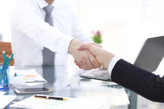 Close up view of business partnership handshake concept.Photo of two businessman handshaking process.Successful deal Royalty Free Stock Photography