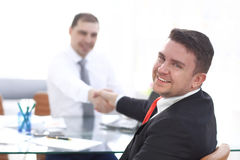 Close up view of business partnership handshake concept.Photo of two businessman handshaking process.Successful deal. After great meeting Stock Photography