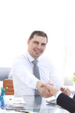 Close up view of business partnership handshake concept.Photo of two businessman handshaking process.Successful deal. After great meeting Royalty Free Stock Photography