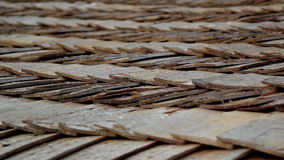 Close-up view of the cabin wooden cedar shingle shake roof stock footage