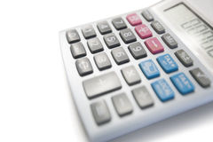 Close-up view of calculator on white background Royalty Free Stock Image