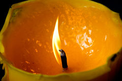 Close up view of the candles burning brightly Royalty Free Stock Images